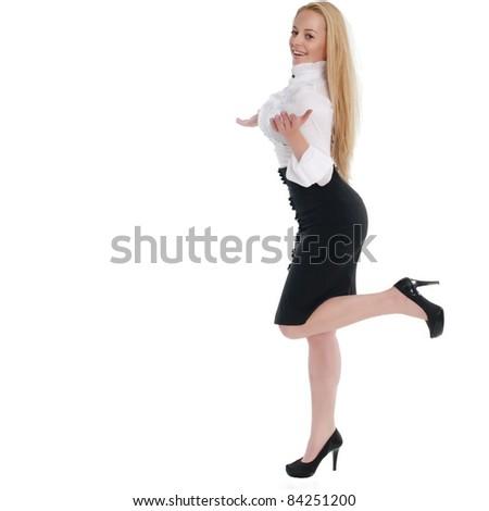 beautiful blonde posing over white background - stock photo