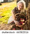 beautiful blonde smiling woman with many apple in basket on haystack at farm - stock photo