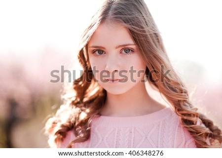 Smiling Blonde Teenager Girl 1215 Year Stock Photo