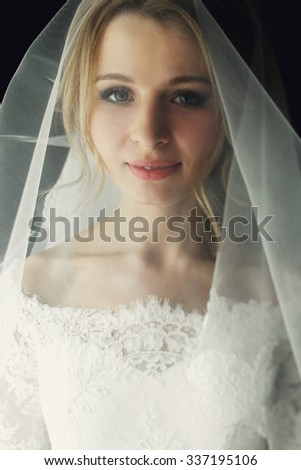 Beautiful blonde wedding bride in make-up and veil in a white dress close-up - stock photo