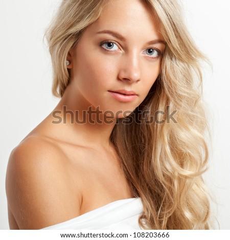 beautiful blonde woman closeup face portrait, square frame - stock photo