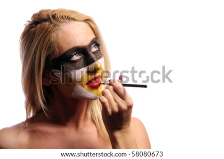 beautiful blonde woman doing fashion make-up, isolated on white, may be use like pilferer concept - stock photo