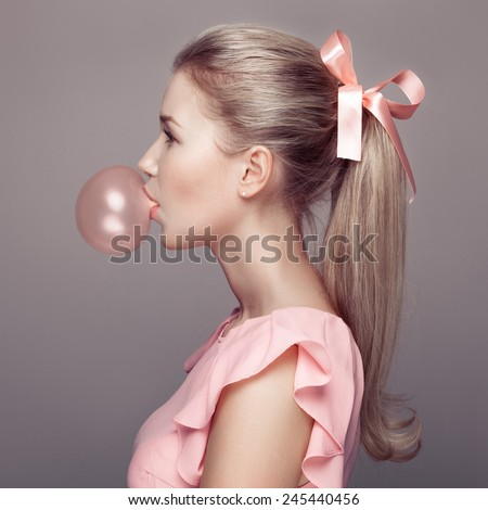 Beautiful blonde woman. Fashion portrait. - stock photo