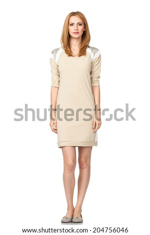beautiful blonde woman in dress, isolated - stock photo