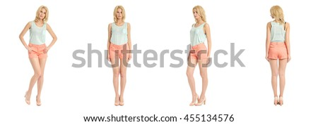 Beautiful blonde woman in shorts isolated over white background