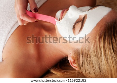 Beautiful blonde woman relaxing in a spa having a face mask applied by a beautician - stock photo