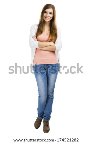 Beautiful blonde woman standing over a white background with arms crossed - stock photo
