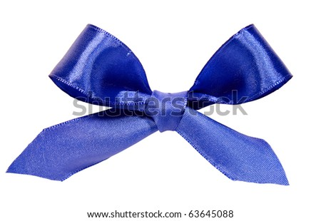 Beautiful blue bow on white
