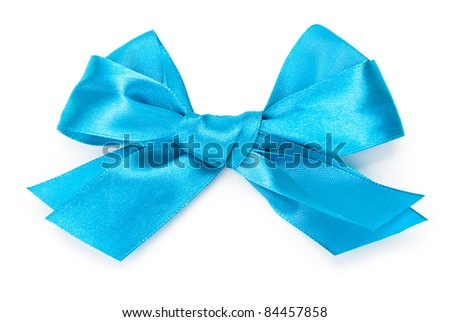 Beautiful blue bow on white background