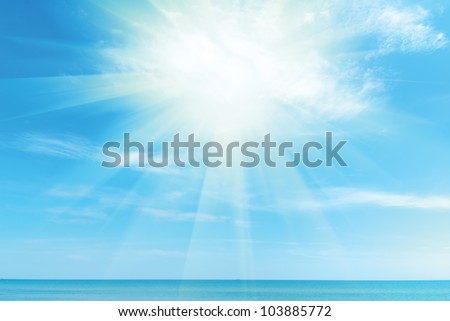beautiful blue Caribbean sky, sea and sun - stock photo