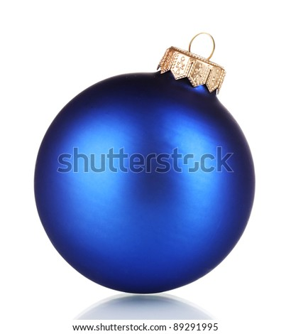 beautiful blue Christmas ball isolated on white - stock photo