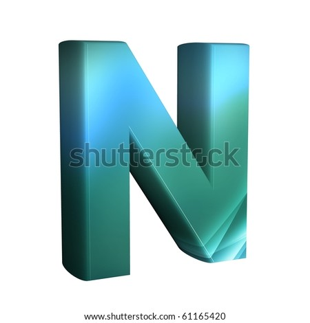 beautiful blue 3d font. Letter n.