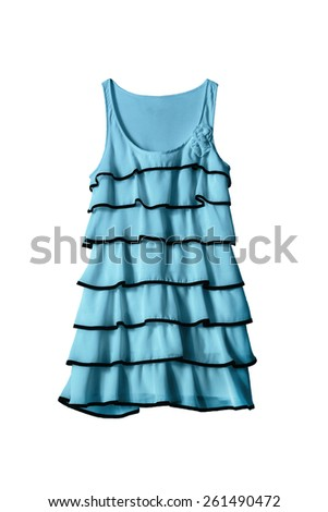 Beautiful blue dress with frills isolated over white - stock photo
