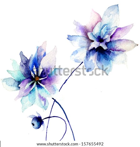Beautiful Blue flowers, Watercolor painting  - stock photo