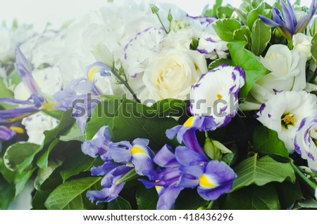 Beautiful blue iris flower with lush leaves, white hydrangea, delicate cream roses with bright white background. Summer wedding concept background. Floral arrangement, design. - stock photo