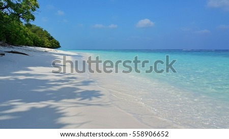Beautiful blue lagoon beach and sea with blue sky background