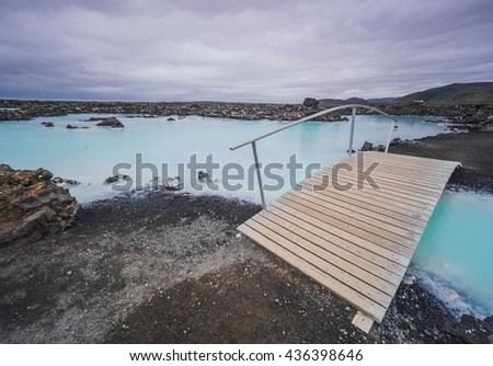 Beautiful Blue Lagoon geothermal area in Iceland.