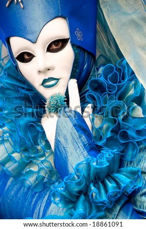 Beautiful blue mask in Venice, Italy. - stock photo