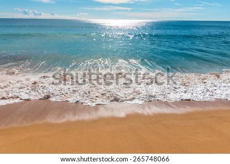 Beautiful Blue Ocean Wave - stock photo