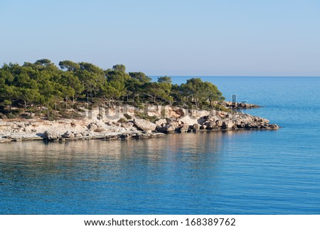 Beautiful blue sea and rocky forest - stock photo