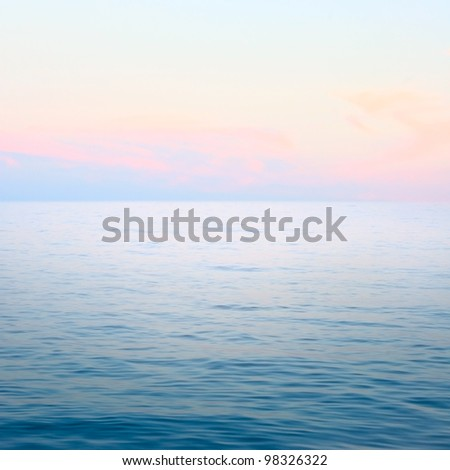 Beautiful blue sea and sky after sunset - stock photo