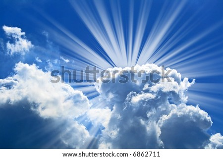 Beautiful blue sky - stock photo