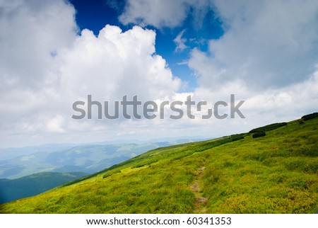 Beautiful blue sky and dry grass high up in Carpathian mountains - stock photo