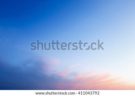beautiful blue sky at dusk - stock photo