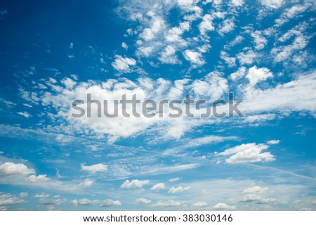 Beautiful Blue Sky Background Template With Some Space for Input Text Message Below Isolated on Blue sky - stock photo