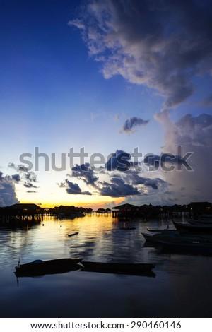 Beautiful blue sky during sunrise at Mabul Island, Sabah, Borneo, Malaysia  - stock photo