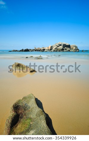 Beautiful blue sky view over seascape of Terengganu, Malaysia. Soft focus due to long exposure shot. Composition of nature.