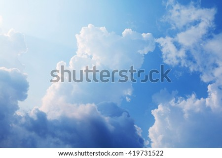 Beautiful blue sky with clouds background and bright lightting clear on Summer - stock photo