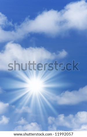 Beautiful blue sky with sunlight