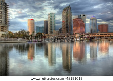 Beautiful blue sunrise sunset and reflections in downtown Tampa, Florida - stock photo