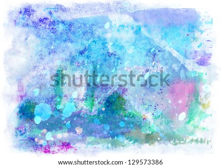 Beautiful Blue-violet watercolor background - stock photo