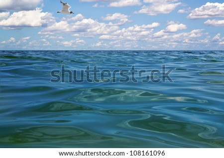 beautiful blue water and sky - stock photo