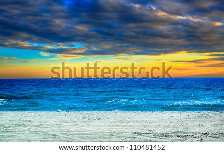 beautiful blue water and sky