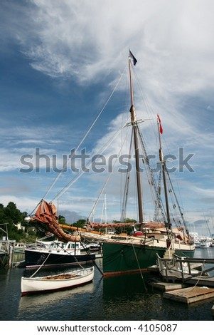 beautiful boat harbor in Camden, Maine - stock photo