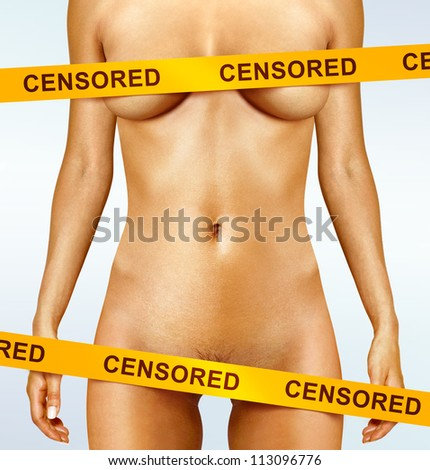 beautiful body of woman covered with censorship tapes - stock photo