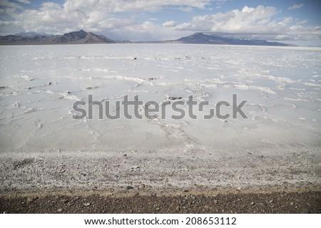 beautiful Bonneville Salt Flats after summer rain - stock photo