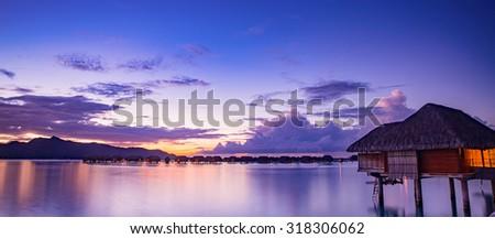Beautiful Bora Bora at sunset - stock photo