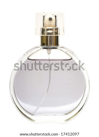 beautiful bottle of perfume isolated - stock photo