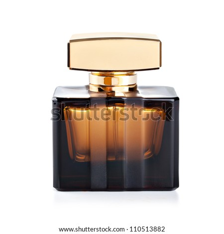 beautiful bottle of perfume on a white background - stock photo