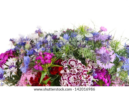 Beautiful bouquet close-up isolated on white