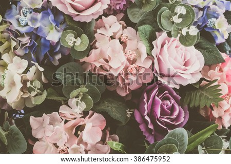 Beautiful bouquet flower for background - Vintage Filter - stock photo