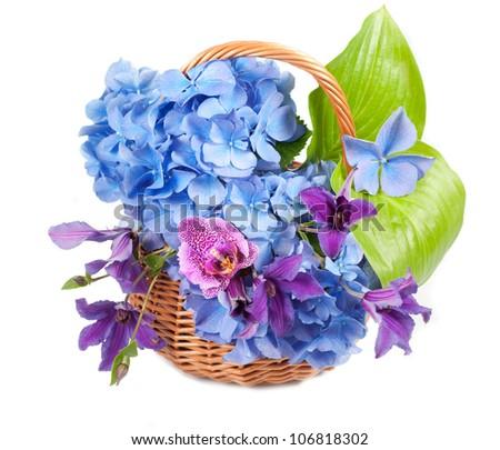Beautiful bouquet  in basket - stock photo