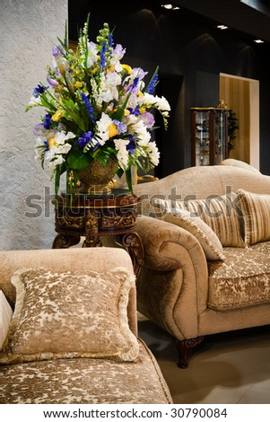 beautiful bouquet in the vase in a modern apartment - stock photo