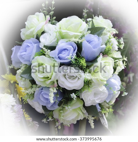 Beautiful bouquet of artificial roses