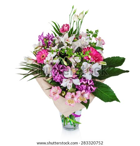 Beautiful bouquet of bright flowers in vase - stock photo