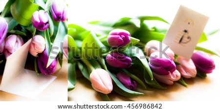 beautiful bouquet of bright tulips on a wooden table with blank